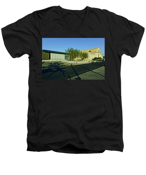 St Louis Art Museum New And Old Men's V-Neck T-Shirt by Greg Kluempers