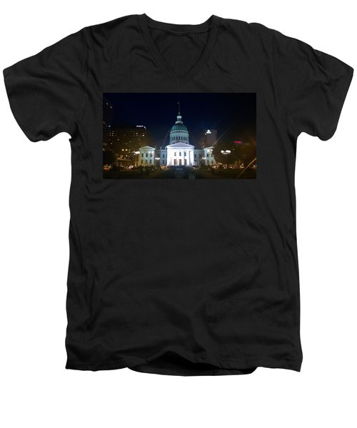 Men's V-Neck T-Shirt featuring the photograph St. Louis At Night by Chris Tarpening