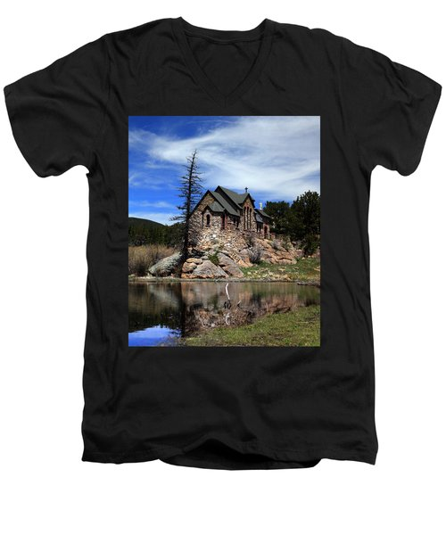 Men's V-Neck T-Shirt featuring the photograph St. Malo Chapel by Shane Bechler