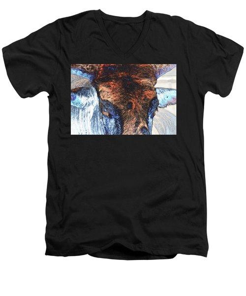 St Paul Rodeo Bull 25407 Neon Men's V-Neck T-Shirt