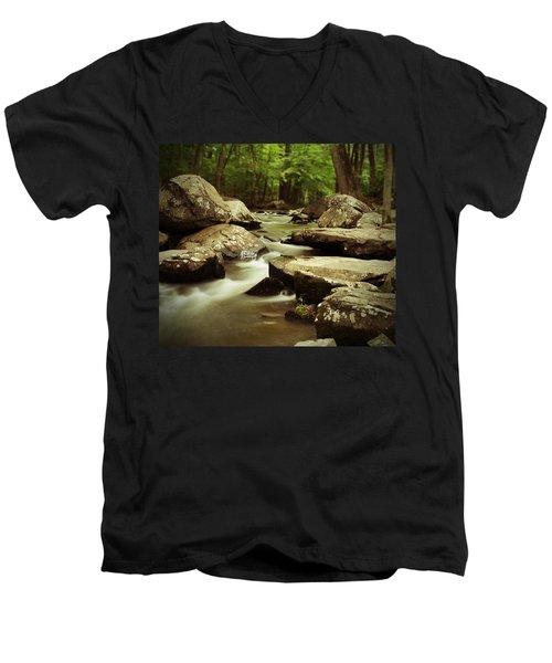 St. Peters Stream Men's V-Neck T-Shirt by Michael Porchik