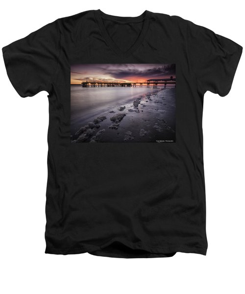 St. Simons Pier At Sunset Men's V-Neck T-Shirt
