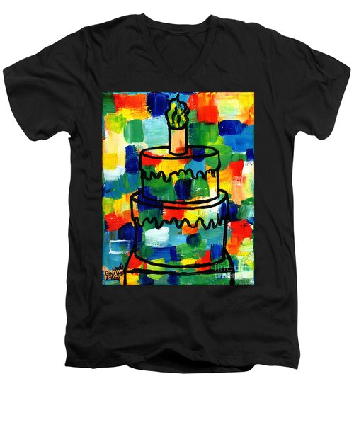 Stl250 Birthday Cake Abstract Men's V-Neck T-Shirt by Genevieve Esson