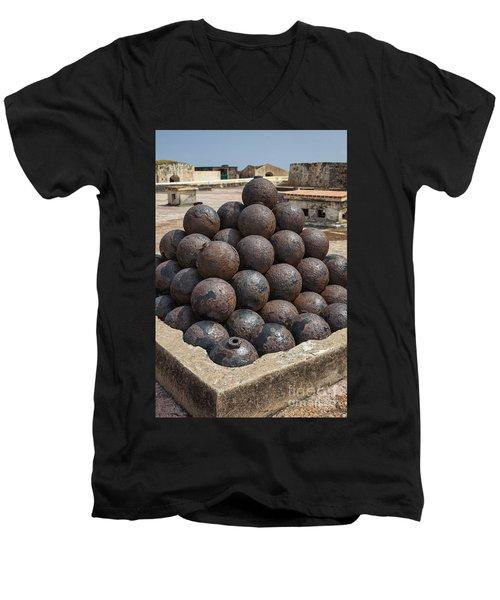 Stack Of Cannon Balls At Castillo San Felipe Del Morro Men's V-Neck T-Shirt