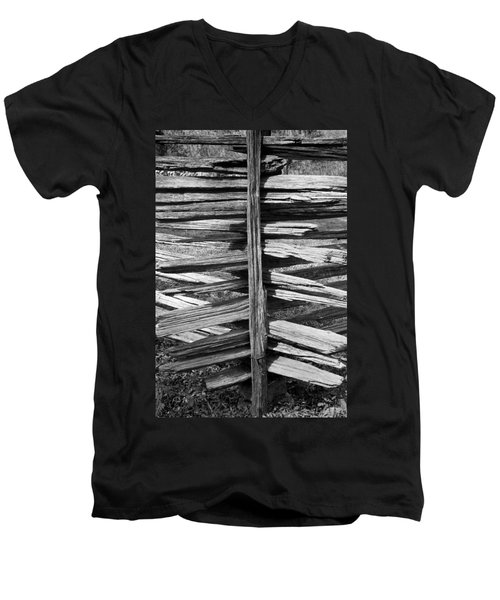 Stacked Fence Men's V-Neck T-Shirt by Lynn Palmer