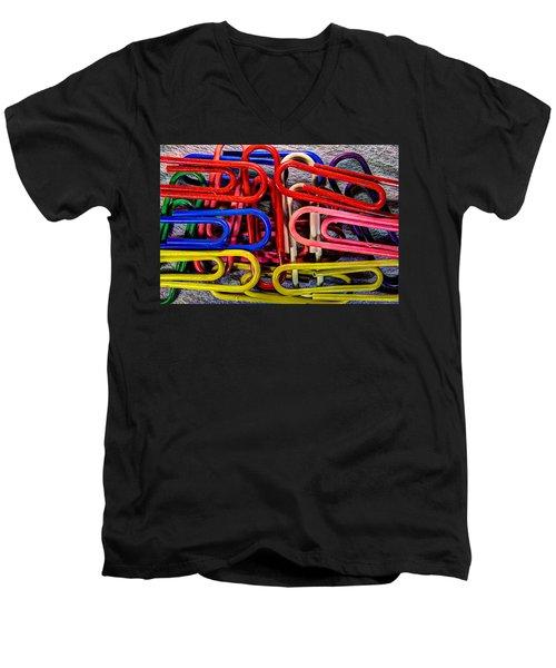 Stacks Of Clips Men's V-Neck T-Shirt by Richard J Cassato