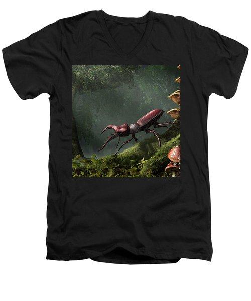 Stag Beetle Men's V-Neck T-Shirt