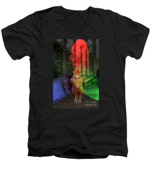 Men's V-Neck T-Shirt featuring the photograph Stain Glass Chicken by Donna Brown
