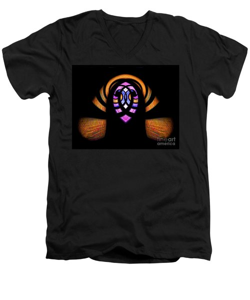 Stained Glass Abstract Men's V-Neck T-Shirt by Sue Stefanowicz