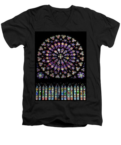 Stained Glass At Notre Dame Men's V-Neck T-Shirt
