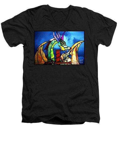 Stained Glass Dragon Men's V-Neck T-Shirt