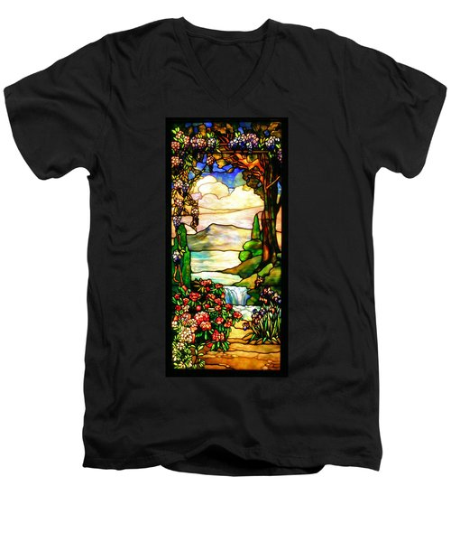 Stained Glass Men's V-Neck T-Shirt by Kristin Elmquist