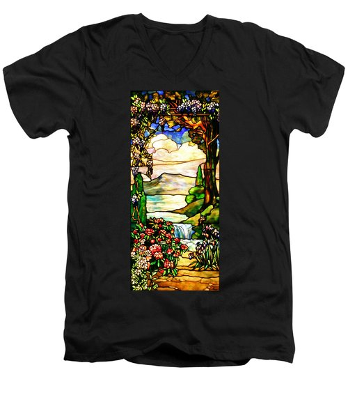 Men's V-Neck T-Shirt featuring the photograph Stained Glass No Border by Kristin Elmquist