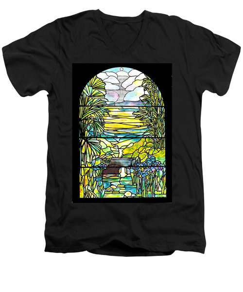 Stained Glass Tiffany Holy City Memorial Window Men's V-Neck T-Shirt
