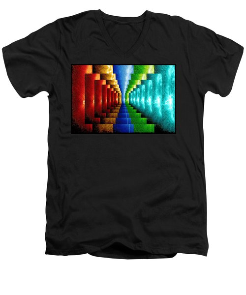 Men's V-Neck T-Shirt featuring the digital art Stairsteps by Paula Ayers