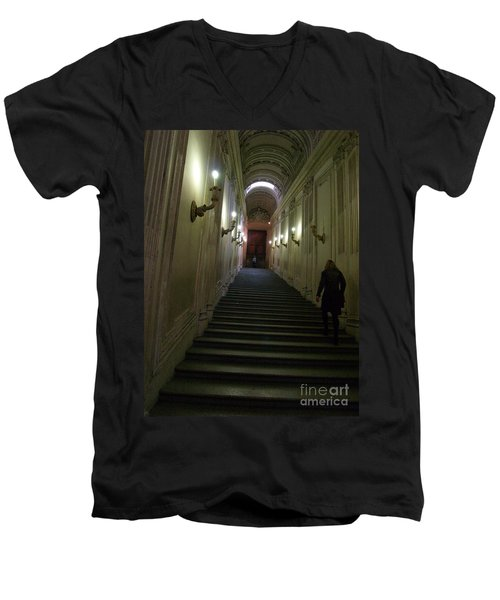 Men's V-Neck T-Shirt featuring the photograph Stairway  by Robin Maria Pedrero