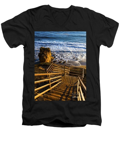 Men's V-Neck T-Shirt featuring the photograph Steps To Blue Ocean And Rocky Beach by Jerry Cowart