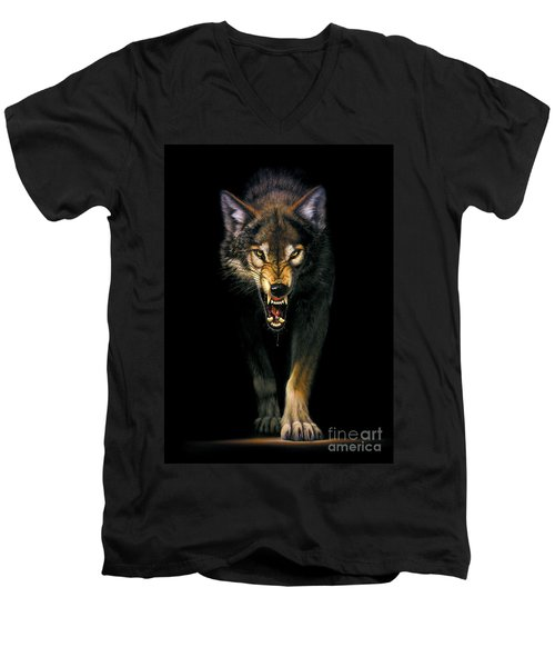 Stalking Wolf Men's V-Neck T-Shirt by MGL Studio - Chris Hiett