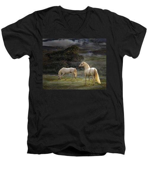 Stallions Of The Gods Men's V-Neck T-Shirt by Melinda Hughes-Berland