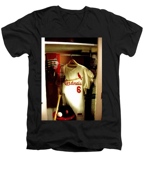 Stan The Man's Locker Stan Musial Men's V-Neck T-Shirt by Iconic Images Art Gallery David Pucciarelli