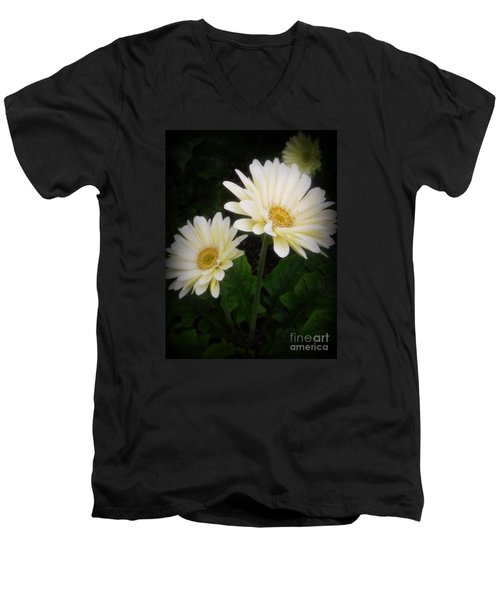 Stand By Me Gerber Daisy Men's V-Neck T-Shirt by Lingfai Leung