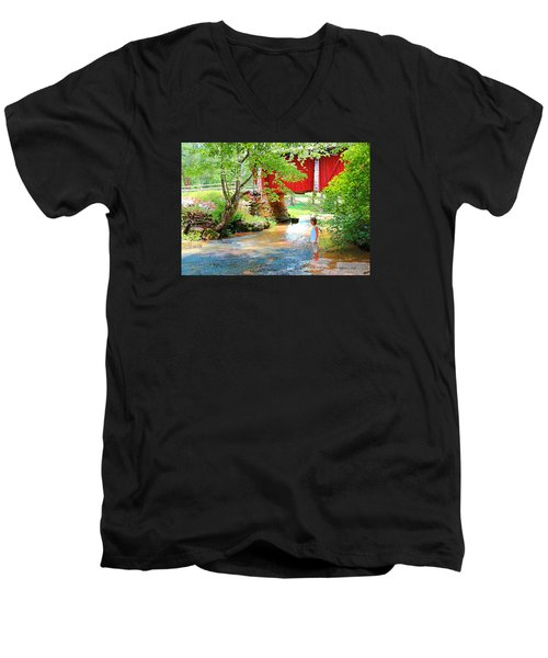 Standing By The River At Campbell's Bridge Men's V-Neck T-Shirt