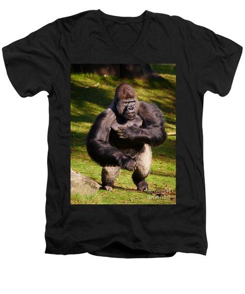 Standing Silverback Gorilla Men's V-Neck T-Shirt
