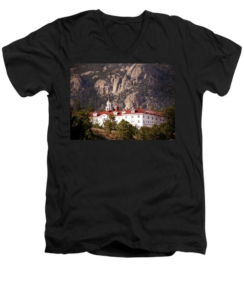 Stanley Hotel Estes Park Men's V-Neck T-Shirt by Marilyn Hunt