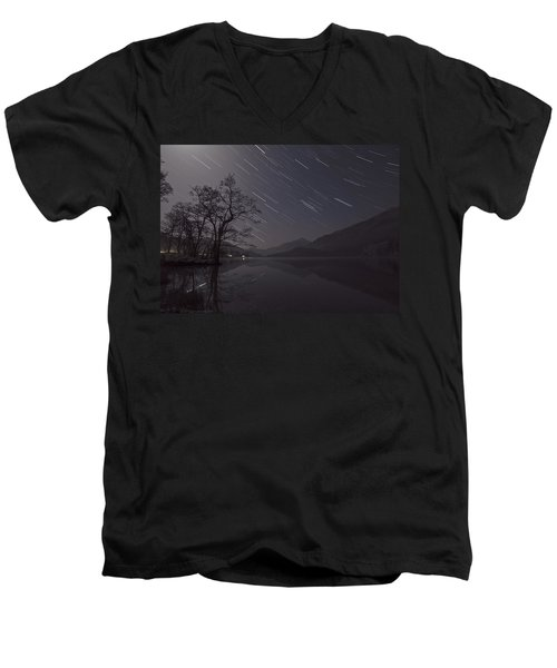 Star Trails Over Lake Men's V-Neck T-Shirt