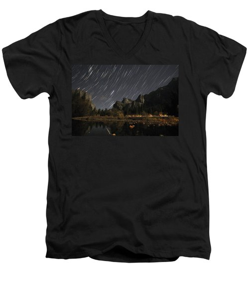 Star Trails Over Yosemite Men's V-Neck T-Shirt