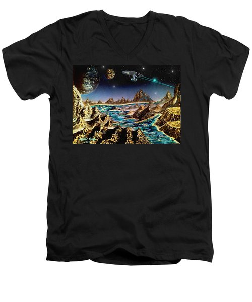 Star Trek - Orbiting Planet Men's V-Neck T-Shirt by Michael Rucker