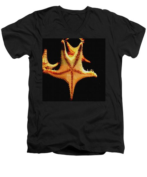 Men's V-Neck T-Shirt featuring the photograph Starfish In Mosaic by Janette Boyd