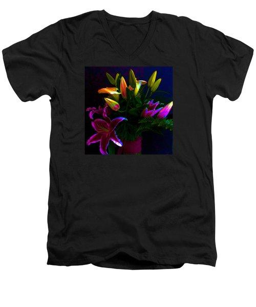 Stargazer Bouquet Men's V-Neck T-Shirt by Carolyn Repka
