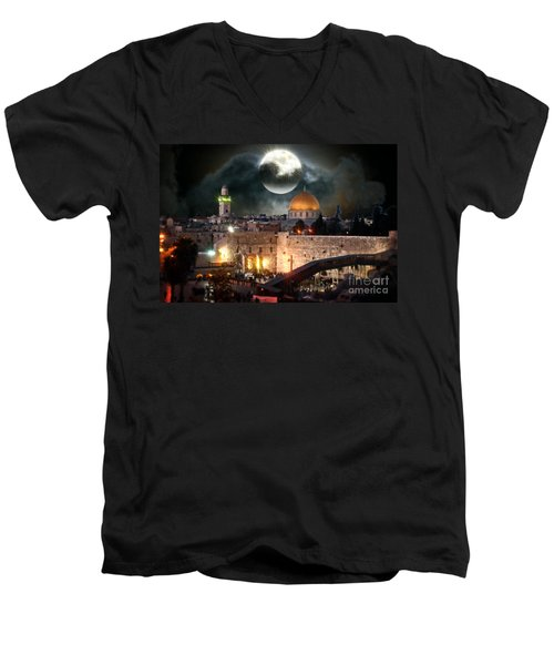 Starry Night At The Dome Of The Rock Men's V-Neck T-Shirt by Doc Braham