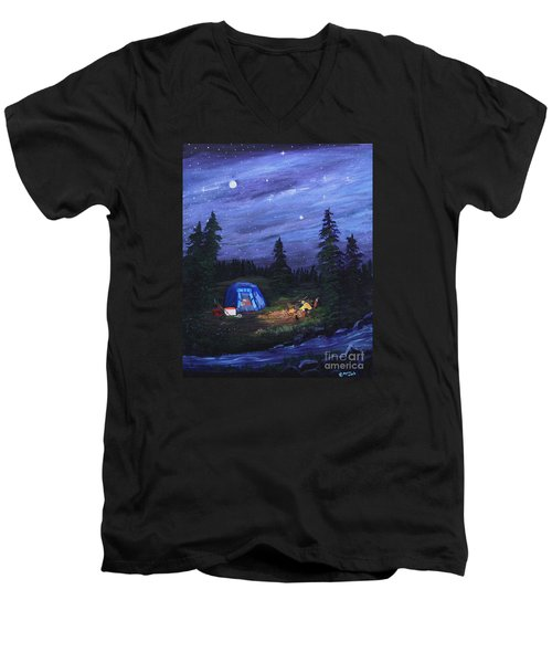 Men's V-Neck T-Shirt featuring the painting Starry Night Campers Delight by Myrna Walsh