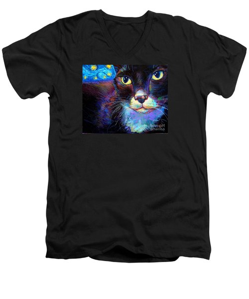 Men's V-Neck T-Shirt featuring the painting Starry Night Jack by Robert Phelps