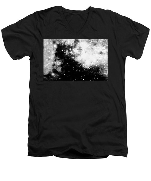 Stars And Cloud-like Forms In A Night Sky Men's V-Neck T-Shirt