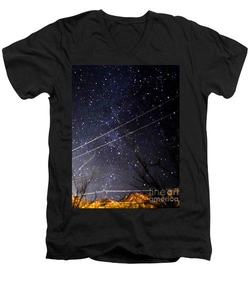 Stars Drunk On Lightpaint Men's V-Neck T-Shirt by Angela J Wright