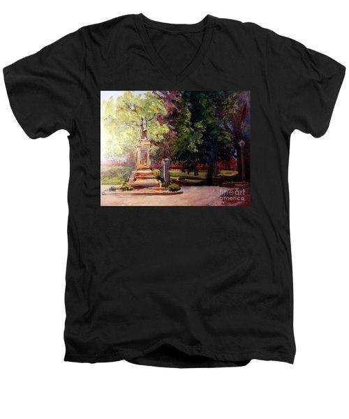 Statue In  Landscape Men's V-Neck T-Shirt