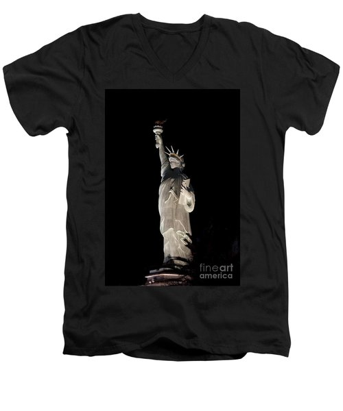 Statue Of Liberty After Midnight Men's V-Neck T-Shirt by Ivete Basso Photography