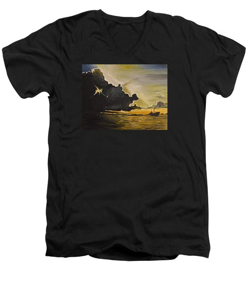 Staying Ahead Of The Storm Men's V-Neck T-Shirt by Donna Blossom