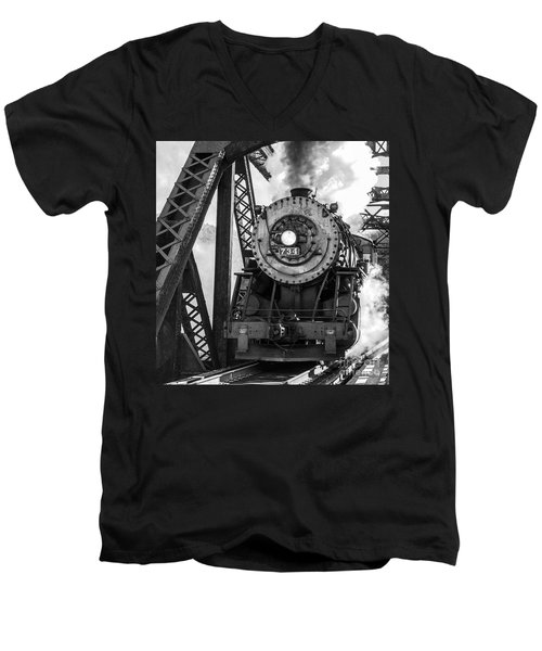 Steam Engine 734 Leaving The Narrows Men's V-Neck T-Shirt by Jeannette Hunt