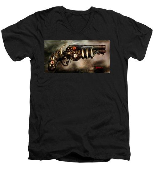 Steam Punk Pistol Mk II Men's V-Neck T-Shirt by Kim Gauge
