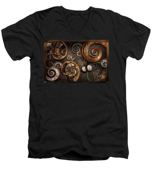 Steampunk - Abstract - Time Is Complicated Men's V-Neck T-Shirt by Mike Savad