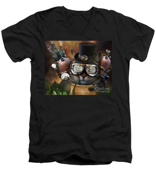 Steampunk Cat Men's V-Neck T-Shirt