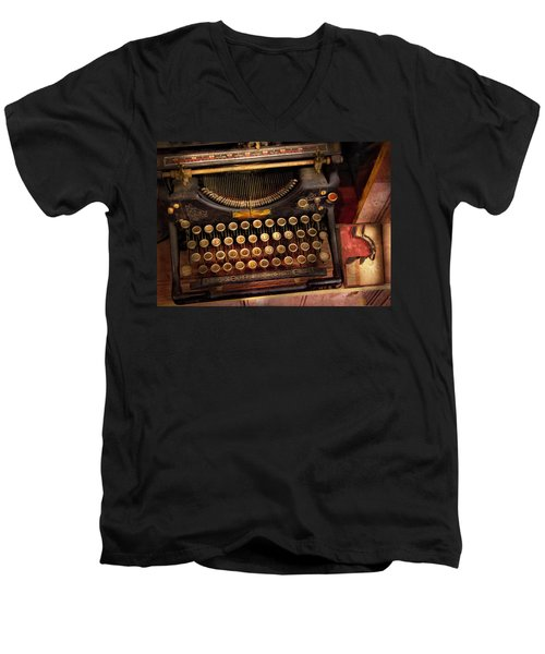 Steampunk - Just An Ordinary Typewriter  Men's V-Neck T-Shirt