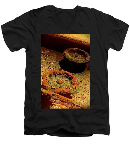 Men's V-Neck T-Shirt featuring the photograph Steel Flowers by James Aiken