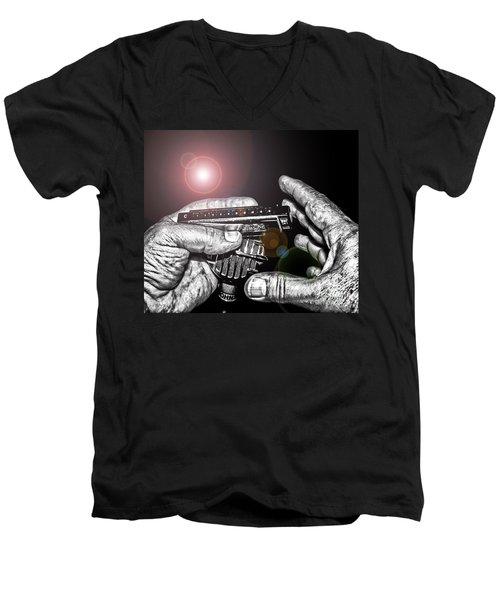 Steelworker's Blues Men's V-Neck T-Shirt by Robert Frederick