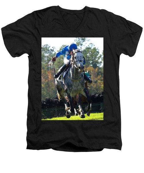 Men's V-Neck T-Shirt featuring the photograph Steeplechase by Robert L Jackson