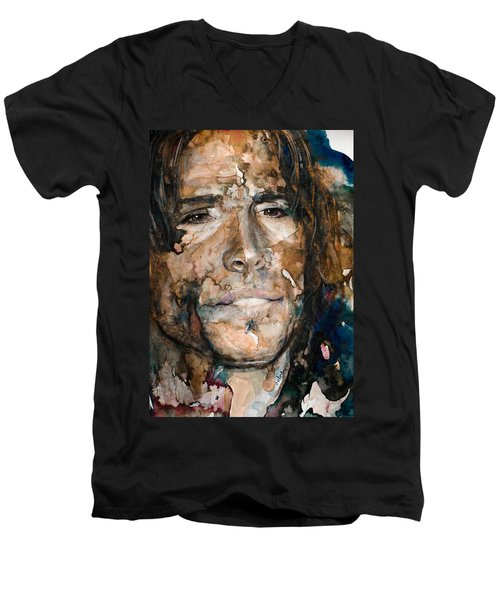 Men's V-Neck T-Shirt featuring the painting Get Your Wings by Laur Iduc